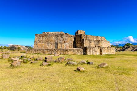 Building J, Monte Alban, a large pre-Columbian archaeological site, Santa Cruz Xoxocotlan Municipality, Oaxaca State.  UNESCO World Heritage