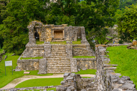 One of the temples of Palenque, was a pre-Columbian Maya civilization of Mesoamerica. Known as Lakamha (Big Water). UNESCO World Heritage Stock Photo