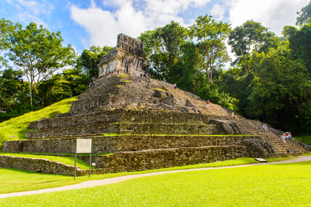 Archaeological object of Palenque, was a pre-Columbian Maya civilization of Mesoamerica. Known as Lakamha (Big Water). UNESCO World Heritage Stock Photo