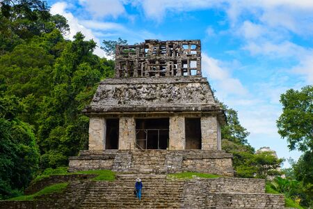 archaeological sites: One of the temples of Palenque, was a pre-Columbian Maya civilization of Mesoamerica. Known as Lakamha (Big Water). UNESCO World Heritage Stock Photo