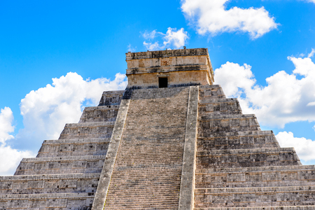 archaeologies: El Castillo (Temple of Kukulcan),  a Mesoamerican step-pyramid, Chichen Itza. It was a large pre-Columbian city built by the Maya people of the Terminal Classic period. UNESCO World Heritage