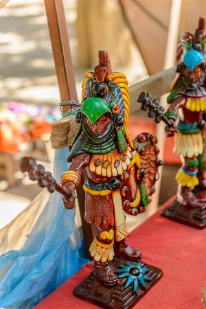 Little Statues, Authentic handcraft souvenirs of maya civilisation Stock Photo