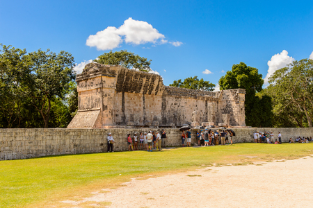 Temple, Chichen Itza, Tinum Municipality, Yucatan State. It was a large pre-Columbian city built by the Maya people of the Terminal Classic period. Stock Photo