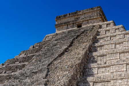 El Castillo (Temple of Kukulcan),  a Mesoamerican step-pyramid, Chichen Itza. It was a large pre-Columbian city built by the Maya people of the Terminal Classic period. UNESCO World Heritage