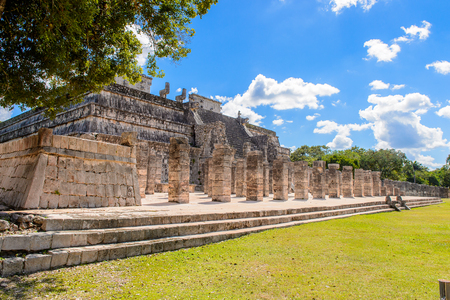 Temple of the warriors, Chichen Itza, Tinum Municipality, Yucatan State. It was a large pre-Columbian city built by the Maya people of the Terminal Classic period.