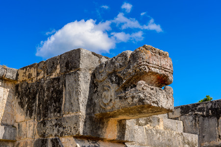 Plumed Serpent, Venus Platform, Chichen Itza, Tinum Municipality, Yucatan State. It was a large pre-Columbian city built by the Maya people of the Terminal Classic period. UNESCO World Heritage Stock Photo