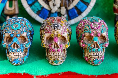 Decorated skull, Authentic handcraft souvenirs of maya civilisation