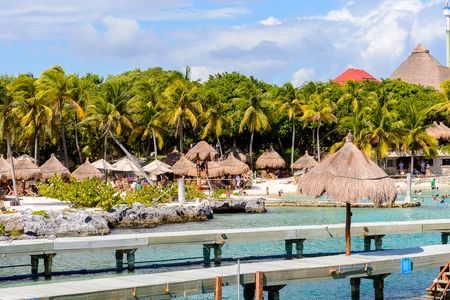 Beautiful beach of the Xcaret,  Maya civilization archaeological site, Yucatan Peninsula, Quintana Roo, Mexico