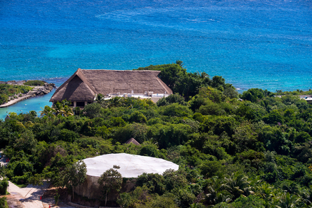 Aerial view of the Xcaret,  Maya civilization archaeological site, Yucatan Peninsula, Quintana Roo, Mexico