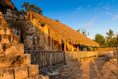 Acropolis, the largest structure at Ek Balam and it contains the tomb of Ukit Kan Lek Tok, a ruler. It is a Yucatec-Maya archaeological site,  Temozon, Yucatan, Mexico. Stock Photo