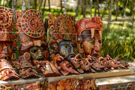 Masks, Authentic handcraft souvenirs of maya civilisation Stock Photo