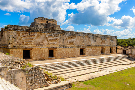 Building of The Nunnery, Uxmal, an ancient Maya city of the classical period. One of the most important archaeological sites of Maya