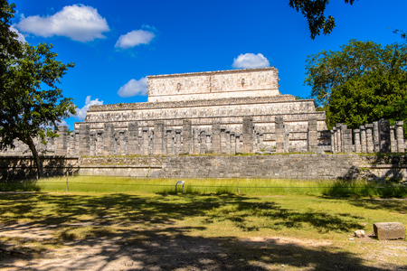 Temple of the warriors, Chichen Itza, Tinum Municipality, Yucatan State. It was a large pre-Columbian city built by the Maya people of the Terminal Classic period. UNESCO World Heritage Stock Photo