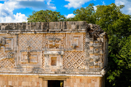 Building of The Nunnery, Uxmal, an ancient Maya city of the classical period. One of the most important archaeological sites of Maya culture.