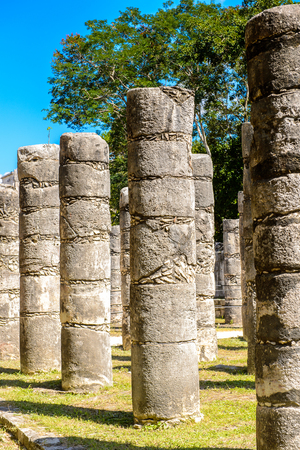 Group of thousands columns, Chichen Itza, Tinum Municipality, Yucatan State. It was a large pre-Columbian city built by the Maya people of the Terminal Classic period. UNESCO World Heritage