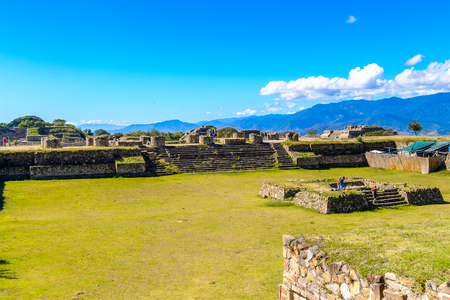 North Platform, Monte Alban, a large pre-Columbian archaeological site, Santa Cruz Xoxocotlan Municipality, Oaxaca State.  UNESCO World Heritage