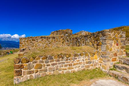 North Platform, Monte Alban, a large pre-Columbian archaeological site, Santa Cruz Xoxocotlan Municipality, Oaxaca State.  UNESCO World Heritage
