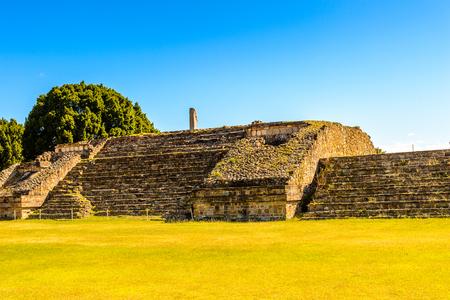 Monte Alban, a large pre-Columbian archaeological site, Santa Cruz Xoxocotlan Municipality, Oaxaca State.  UNESCO World Heritage Stock Photo