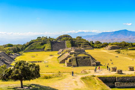 Panorama of Monte Alban, a large pre-Columbian archaeological site, Santa Cruz Xoxocotlan Municipality, Oaxaca State.  UNESCO World Heritage