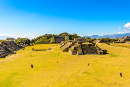 Panorama of the Main Plaza, from North Platform, Monte Alban, a large pre-Columbian archaeological site, Santa Cruz Xoxocotlan Municipality, Oaxaca State.  UNESCO World Heritage Stock Photo