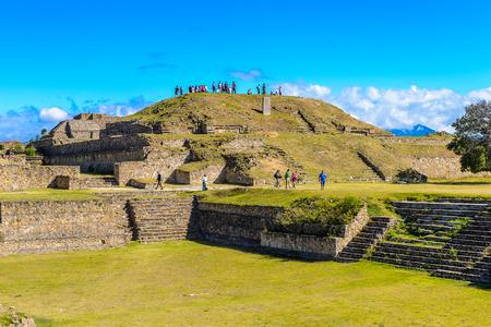 Buildings of the North Platform, Monte Alban, a large pre-Columbian archaeological site, Santa Cruz Xoxocotlan Municipality, Oaxaca State.  UNESCO World Heritage