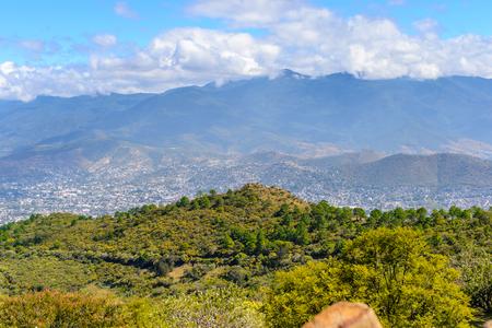 Nature of Monte Alban, a large pre-Columbian archaeological site, Santa Cruz Xoxocotlan Municipality, Oaxaca State. Stock Photo