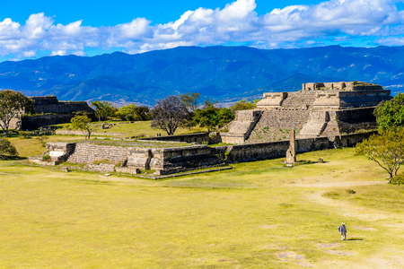 View from the North Platform of Monte Alban, a large pre-Columbian archaeological site, Santa Cruz Xoxocotlan Municipality, Oaxaca State.  UNESCO World Heritage