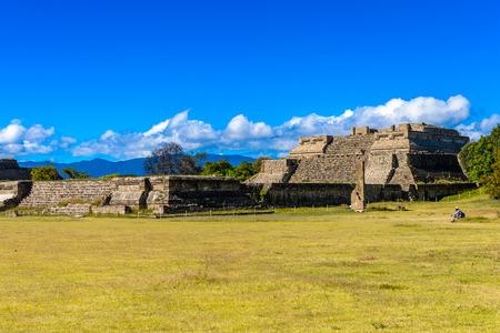 Main square of Monte Alban, a large pre-Columbian archaeological site, Santa Cruz Xoxocotlan Municipality, Oaxaca State.  UNESCO World Heritage Stock Photo