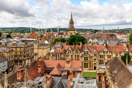 Aerial view of Brasenose College, Oxford, England. Oxford is known as the home of the University of Oxford