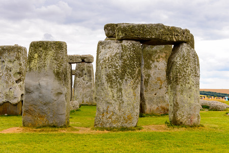 Close view of the stones of Stonehenge, a prehistoric monument in Wiltshire, England. UNESCO World Heritage Sites