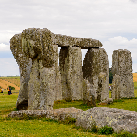 druid: Close view of the stones of Stonehenge, a prehistoric monument in Wiltshire, England. UNESCO World Heritage Sites