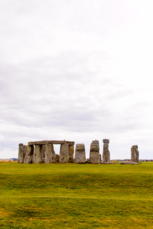 Cloudy sky over the Stonehenge, a prehistoric monument in Wiltshire, England. UNESCO World Heritage Sites