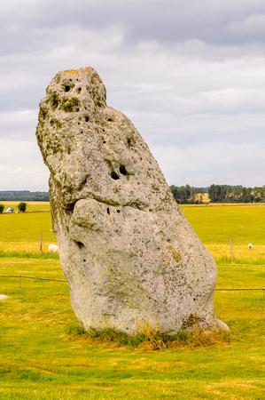 druid: Heelstone of the Stonehenge, a prehistoric monument in Wiltshire, England. UNESCO World Heritage Sites