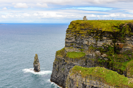 Rocks of Cliffs of Moher (Aillte an Mhothair), edge of the Burren region in County Clare, Ireland. Great touristic attraction Stock Photo