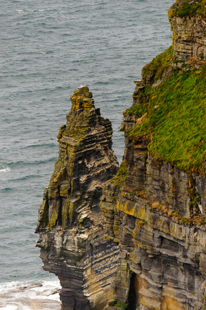 ocean waves: Cliffs of Moher (Aillte an Mhothair), edge of the Burren region in County Clare, Ireland. Great touristic attraction