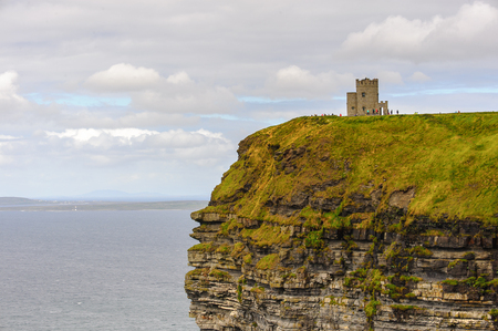 OBriens Tower on the Cliffs of Moher (Aillte an Mhothair), edge of the Burren region in County Clare, Ireland. Great touristic attraction