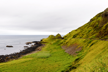 Nature of the Giants Causeway and Causeway Coast, the result of an ancient volcanic eruption UNESCO World Heritage Site Stock Photo