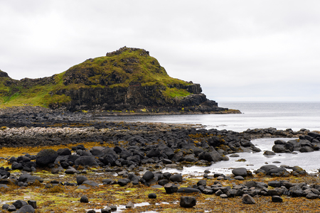 irish countryside: Spectacular view of the Giants Causeway and Causeway Coast, the result of an ancient volcanic eruption