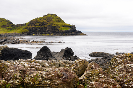 Spectacular view of the Giants Causeway and Causeway Coast, the result of an ancient volcanic eruption UNESCO World Heritage Site