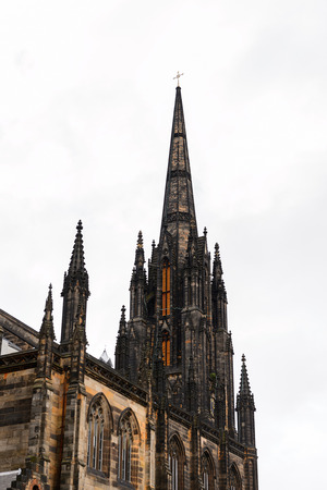 scottish culture: Church spire. High Street. Old Town of Edinburgh, Scotland. Old Town and New Town are a UNESCO World Heritage Site
