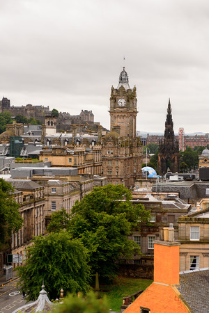 architecture monumental: Panorama of Edinburgh, Scotland. Old Town and New Town are a UNESCO World Heritage Site