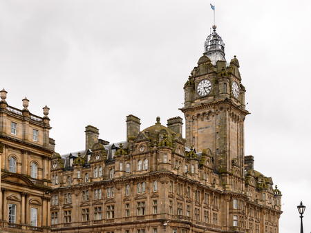 scottish culture: Balmoral hotel of Edinburgh, Scotland. Old Town and New Town are a UNESCO World Heritage Site