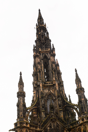Scott monument tower of Edinburgh, Scotland. Old Town and New Town Stock Photo