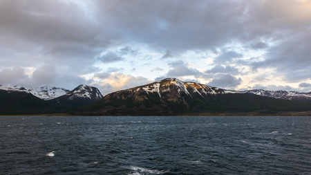 The Beagle Channel.  Also the Straits of Magellan, Drake Passage are the three navigable passages around South America between the Pacific and Atlantic Oceans. Stock Photo
