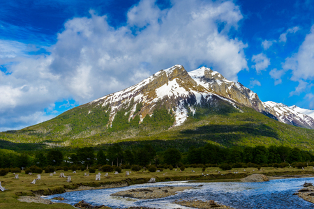 Beautiful mountain with snow of Ushuaia, province of Tierra del Fuego, Argentina