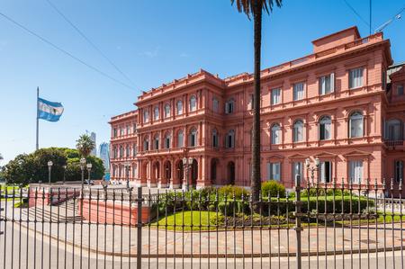 ブエノス ・ アイレスでカーサ ロサダ (ピンクの家)。その政府の家およびアルゼンチンの大統領のオフィス