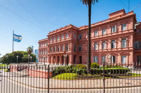 Casa Rosada (Pink House) in Buenos Aires. Its the Government house and the office of the President of Argentina Stock Photo