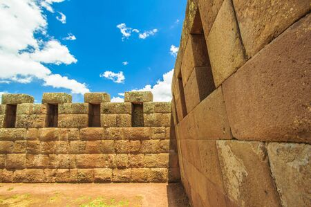 touristy: Rests of the old incas town in the mountain of Peru near Machu Picchu Stock Photo