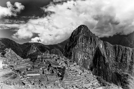 Machu Picchu in black and white, a pre-Columbian 15th-century Inca site located 2,430 metres above sea level. Cusco Region of Peru, South America. Stock Photo