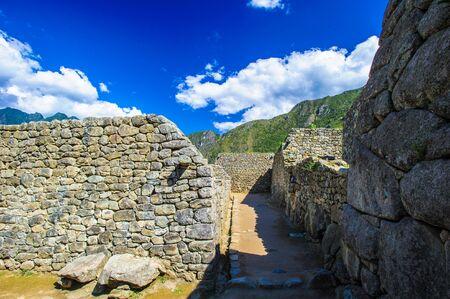 Ruins of the Machu Picchu, located 2,430 metres above sea level. Cusco Region of Peru, South America. Stock Photo
